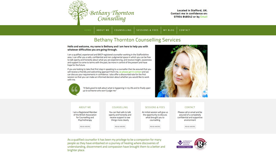Bethany Thornton Counselling Screenshot